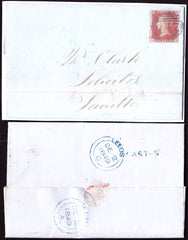 47999 - LEEDS 'EAST-ST' HAND STAMP. 1849 entire Leeds to Snaith with four margi...