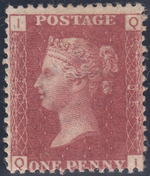 48486 - PL. 195 (QI)(SG43). A good large part o.g. 1876 1d plate 195 (SG 43) lettered QI.