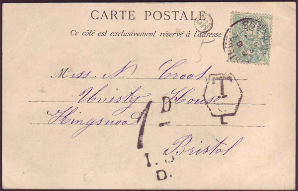 48517 - 1904 (?) UNDERPAID MAIL FRANCE TO BRISTOL