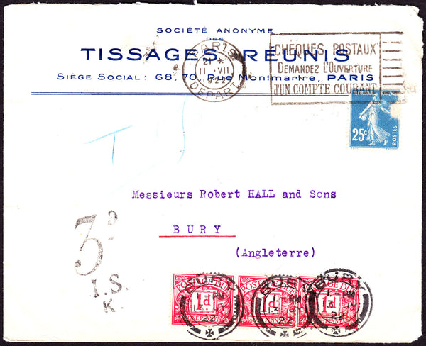 48735 - 1922 UNDERPAID MAIL FRANCE TO THE UK.  Advertising envelope from Paris ...