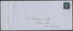 "49423 -1851 DERBYS/""ALVASTON"" UDC (DY9)/2d BLUE Pl.4 (NC)(SG14). Large envelope (219x91)"