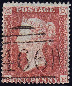 50026 - 1854 1d die pl.194 (BE)S.C.16 (SG 17). A good used...