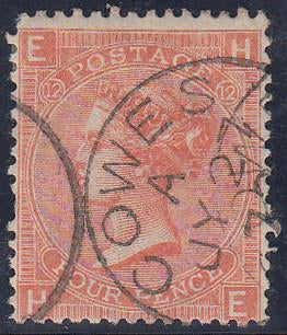50135 - 1870 4d vermilion plate 12 (SG 94). A good used ex...