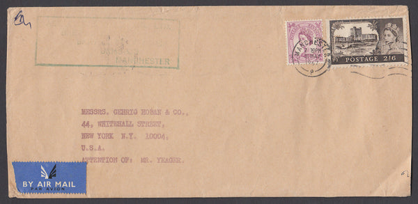 50176 - 1967 MAIL MANCHESTER TO USA 2/6D CASTLE. Large envelope (217x102) Manchester to New York with 2/6d Cas...