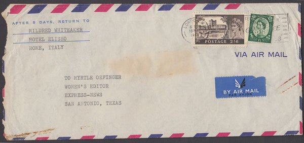 50177 - 1958 envelope London to Texas - envelope some impe...