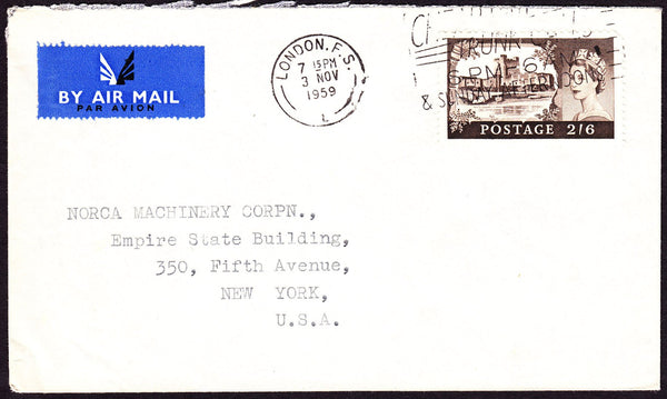 50202 - 1959 envelope London to New York with 2/6d Castle,...