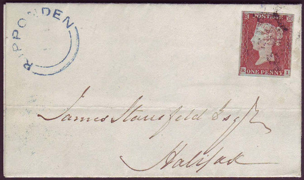 50239 - YORKS/RIPPONDEN UDC IN BLUE/PLATE 66 'RI' RE-ENTRY (SG8). 1847 letter from Ripponden, Yo...