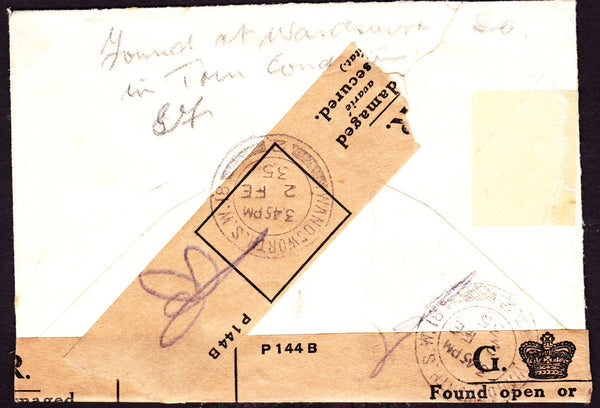 50422 - 1935 OFFICIALLY RESEALED MAIL FROM LONDON. Envelope from Wandsworth...