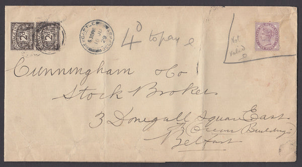 51554 - 1929 INVALID STAMP (QV 1D LILAC(SG172)/POSTAGE DUE.  Large envelope (237x126) to Belfast with 1...