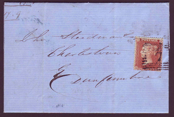 51679 - 1857 letter Alloa to Dunfermline with die II 1d st...