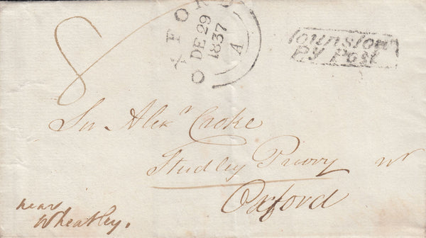51716 - 1837 MIDDLESEX/'HOUNSLOW PENNY POST'(MX129) Wrapper from Hounslow to Oxford wi...