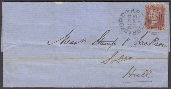 51828 - Pl. 6(FF)(SG21). 1855 wrapper Bradford Yorks to Hu...