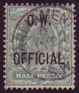 51976 - 1902 KEDVII ½D BLUE-GREEN O.W. OFFICIAL (SG036). ...