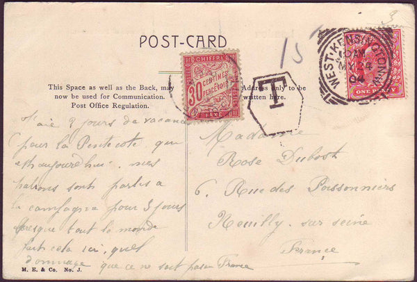 52035 - 1904 UNDERPAID MAIL LONDON TO PARIS.