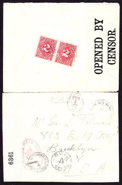 52095 - 1917 UNPAID MILITARY MAIL TO USA. Envelope from Field Post Office ...