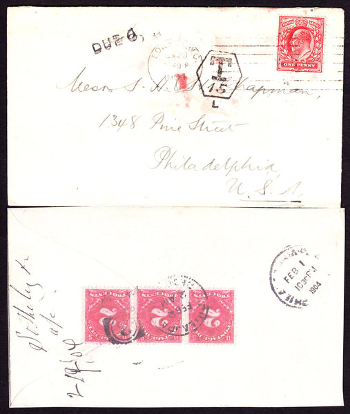 52113 - 1904 UNDERPAID MAIL LONDON TO USA. Envelope London