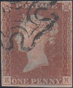 52498 - 1D RED PL.2 (EK)(SG7). A fine 1841 1d red from plate 2 (SG7) lettered EK with four good margins   fine used exampl...