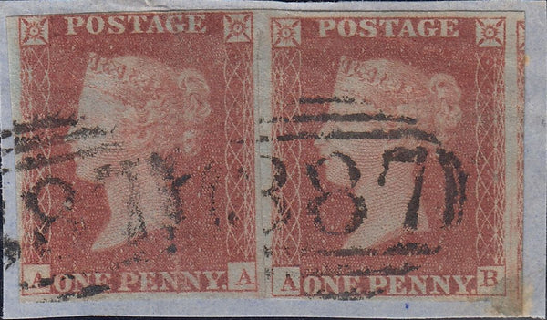 52681 - PL.168 (AA AB)(SG8)/MISSING IMPRIMATUR LETTERINGS. Small piece with good used horizontal pair