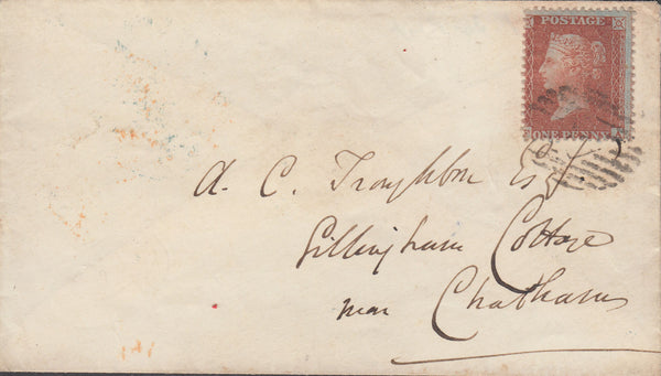 52735 -PLATE 8 (FA) ON COVER.  1856 envelope London to Chatham with die II 1d ..