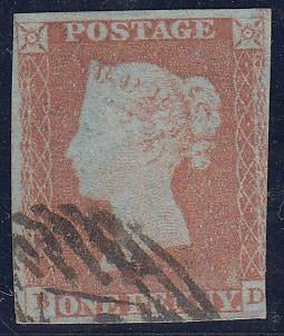 52851 - 1846 1d plate 69 (BD)(SG 8). Used example lettered...