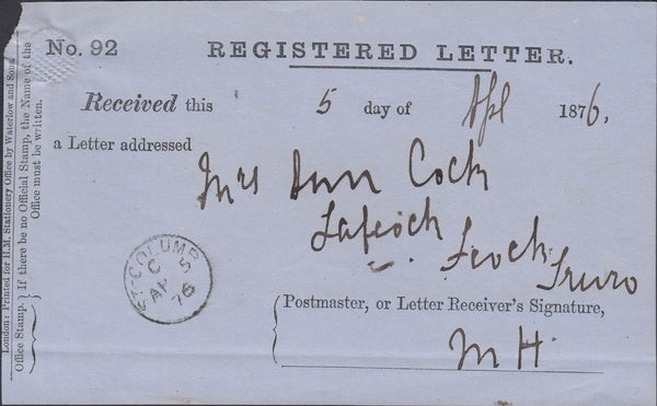 52961 - 1876 REGISTRATION RECEIPT/CORNWALL. A good example (sma...