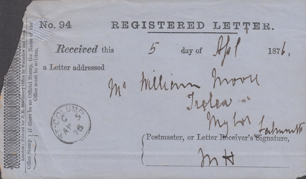 52962 - 1876 REGISTRATION RECEIPT/CORNWALL. A good example (sma...