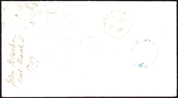 53059 - 1858 envelope London to Halifax with fine SG 40 pl...