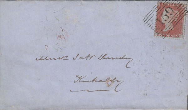 53076 - PL.187 S.C.16 (SG17)(CB) ON COVER GLASGOW TO KIRKALDY. 1854 wrapper Glasgow to Kirkcaldy with fine SG 17 ...