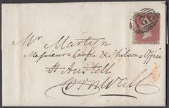 53081 - PLATE 14(LJ)(SPEC C6) ON COVER. 1856 letter Workington to S...