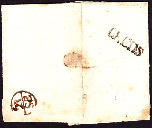 53292 - LEEDS HAND STAMP (YK1739). Circa 1750 wrapper Leeds to London, some soiling,...
