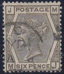 53840 - 1878 6d grey plate 16 (SG 147). A good to fine use...