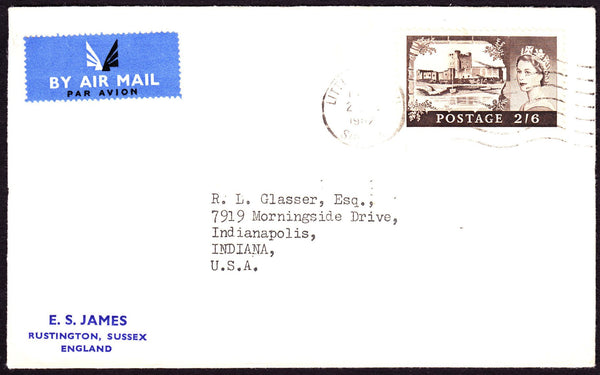 54094 - 1962 CASTLE USAGE LITTLEHAMPTON TO USA. Envelope from Littlehampton, Sussex to Indian...