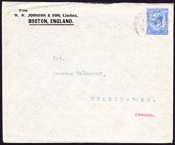 54194 - ADVERTISING. 1913 envelope from Boston, England to ...