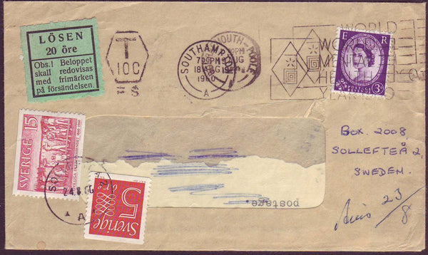 54253 - 1960 UNDERPAID MAIL UK TO SWEDEN. Window envelope Southampt...