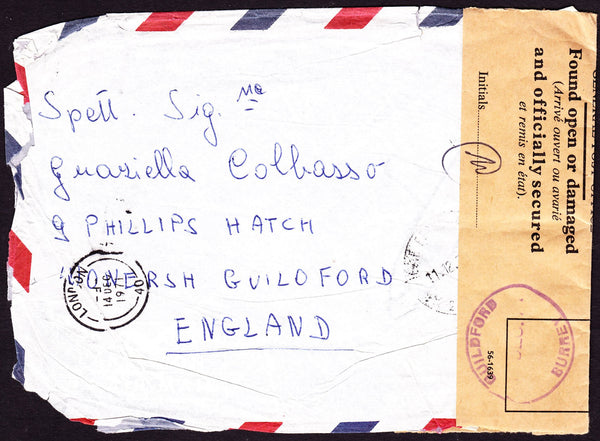 54421 - OFFICIALLY RESEALED. 1971 envelope Trieste to Engl...