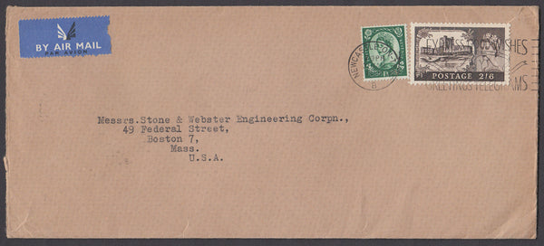 54536 - 1958 envelope sent airmail Newcastle-on-Tyne to Bo...