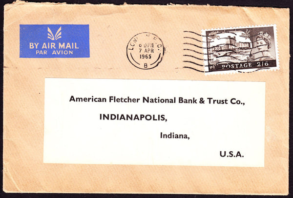 54725 - 1965 envelope from London to Indiana, USA with 2/6...