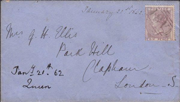 54799 - 'A81' - MAIL BOAT CANCELLATION USED ON 1862 ENVELOPE.