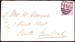 54814 - 1869 INCOMING NAVAL MAIL TO ENGLAND. 1869 envelope to Mrs Alleyne Bath Engl...