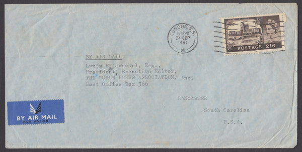 55110 - CASTLE USAGE. 1957 envelope from London to the US ...