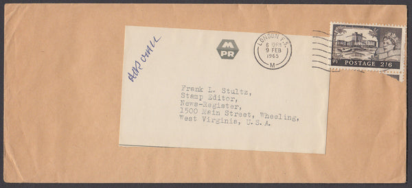 55111 - CASTLE USAGE. 1965 envelope London to the US with ...