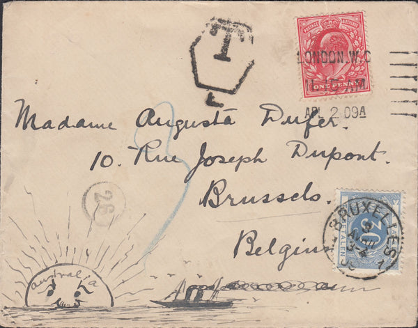 55279 - 1909 UNDERPAID MAIL LONDON TO BRUSSELS/HAND DRAWN ENVELOPE. 1909 envelope London to Belgium with ...
