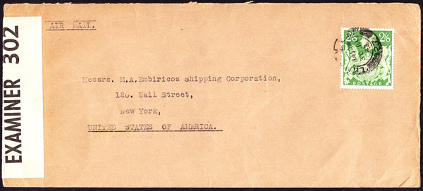 55542 - 1943 MAIL LONDON TO USA 2/6D YELLOW-GREEN (SG476b). Large envelope (230x102) London to New York USA