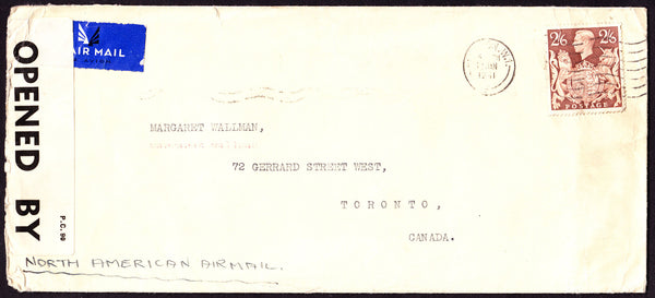 55554 - 1941 MAIL LONDON TO CANADA. Large envelope (241x108) London to Toronto, Canada with KGVI 2/6d br...