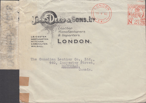 55559 - ADVERTISING/METER MARK/1942 MAIL LONDON TO MONTREAL. 1942 envelope London to Montreal, Can...