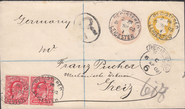 55617 - 1902 REGISTERED MAIL LEICESTER TO GERMANY/MIXED REIGNS. Fine envelope