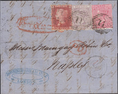 55724 - 1860 THREE COLOUR COMBINATION LONDON TO NAPLES. 1860 letter London to Naples with 1d star (SG 40) ...