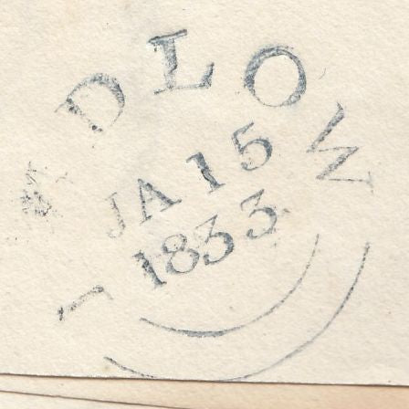 55780 - 1833 MAIL TO 'NEW HUMMUMS' COFFEE HOUSE. 1833 wrapper Ludlow to 'New Hummums ...