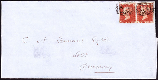 56106 - PL. 196 (JF JG)(SG17) ON COVER WAKEFIELD TO DEWSBURY. 1855 wrapper Wakefield to Dewsbury with pair of SG...