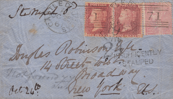 56184 - 1861 UNDERPAID MAIL/TRANSATLANTIC MAIL.  Envelope Cast...